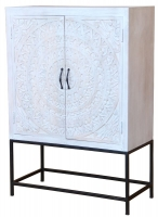 Jaipur Chennai Mango Wood 2 Door Narrow Tall Cabinet with Iron Base