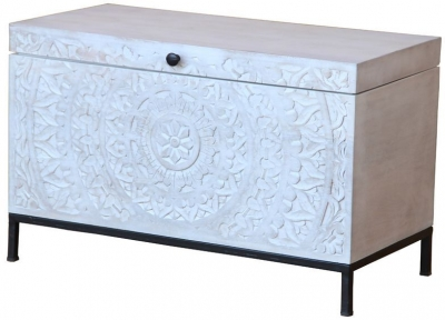 Jaipur Chennai Mango Wood 1 Door Wood Box with Iron Base