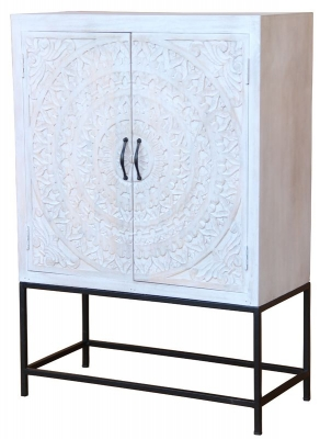 Jaipur Chennai Mango Wood 2 Door Narrow Tall Cabinet with Iron Base