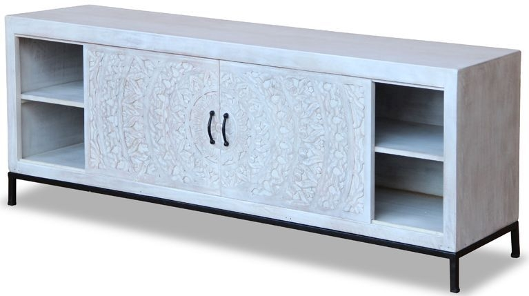 Jaipur Chennai Mango Wood 2 Door TV Cabinet with Iron Base