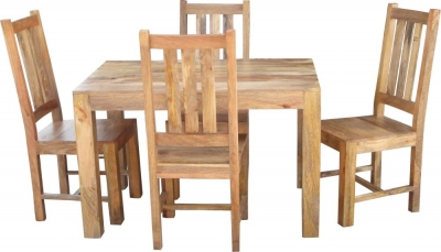 Jaipur Dakota Light Mango Dining Table with 4 Dakota Chairs
