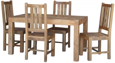 Jaipur Dakota Light Mango Small Dining Table with 4 Dakota Chairs