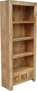 Jaipur Furniture Dakota Light Bookcase - Large 3 Shelves 3 Drawers
