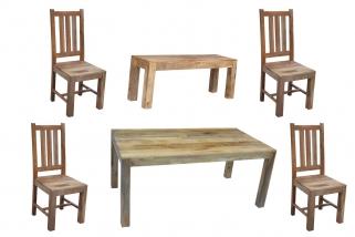 Jaipur Furniture Dakota Light Dining Set - Large with 4 Dakota Chairs and Large Bench