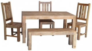 Jaipur Dakota Light Mango Small Dining Table with 3 Dakota Chairs and Small Bench