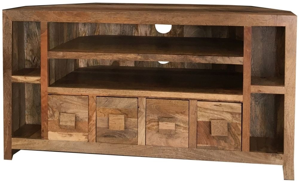 Jaipur Dakota Light Mango Wood 4 Drawer Corner Plus TV Unit