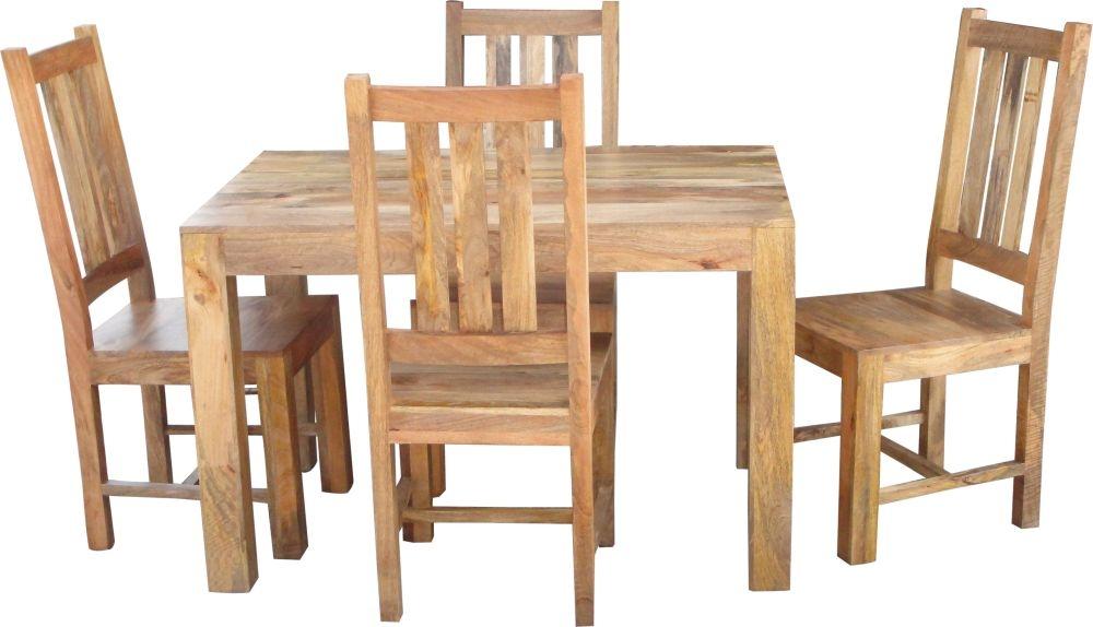 Jaipur Dakota Light Mango Dining Table with 4 Dakota Chairs
