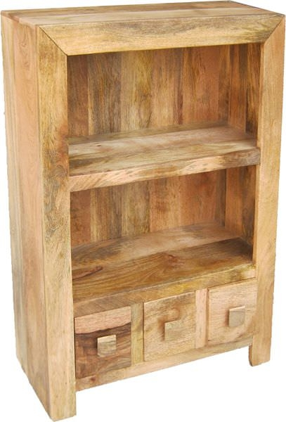 Jaipur Dakota Light Mango Wood Bookcase - Small 1 Shelf 3 Drawer