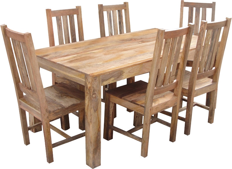 Jaipur Dakota Light Mango Wood Large Dining Set with 6 Dakota Chairs - 175cm