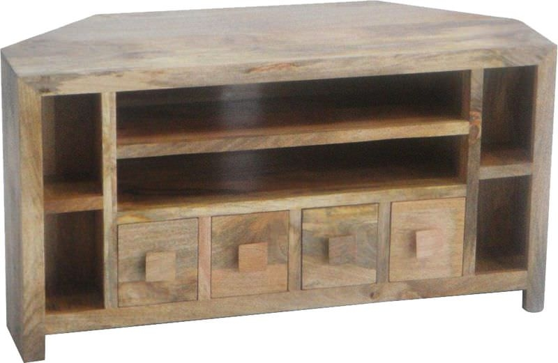 Jaipur Dakota Light Mango Wood Plus TV Unit - Corner 4 Drawer
