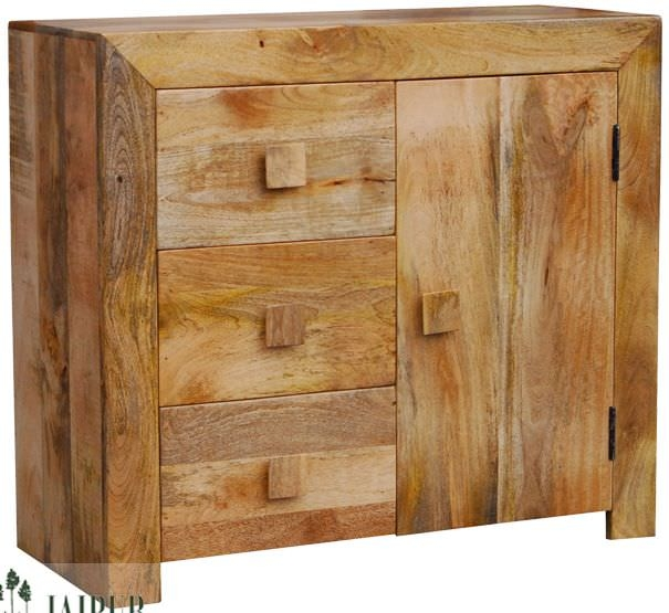 Jaipur Dakota Light Mango Wood Sideboard - 1 Door 3 Drawer