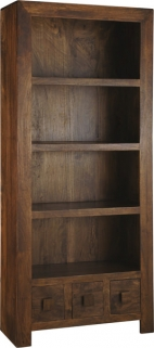 Jaipur Furniture Dakota Walnut Bookcase - Large 3 Shelves 3 Drawers