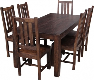 Jaipur Dakota Walnut Mango Wood Large Dining Table with 6 Dakota Chairs