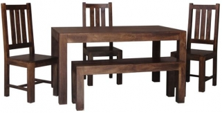 Jaipur Dakota Walnut Mango Wood Small Dining Table with 4 Dakota Chairs and Small Bench