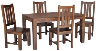 Jaipur Dakota Walnut Mango Wood Small Dining Table with 4 Dakota Chairs