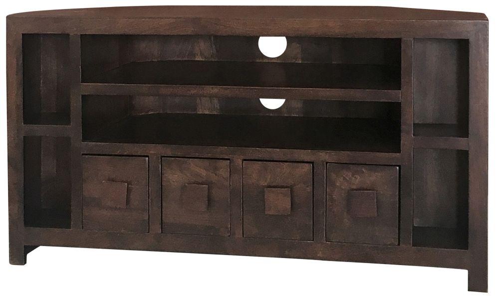 Jaipur Dakota Walnut Mango Wood 4 Drawer Corner Plus TV Unit