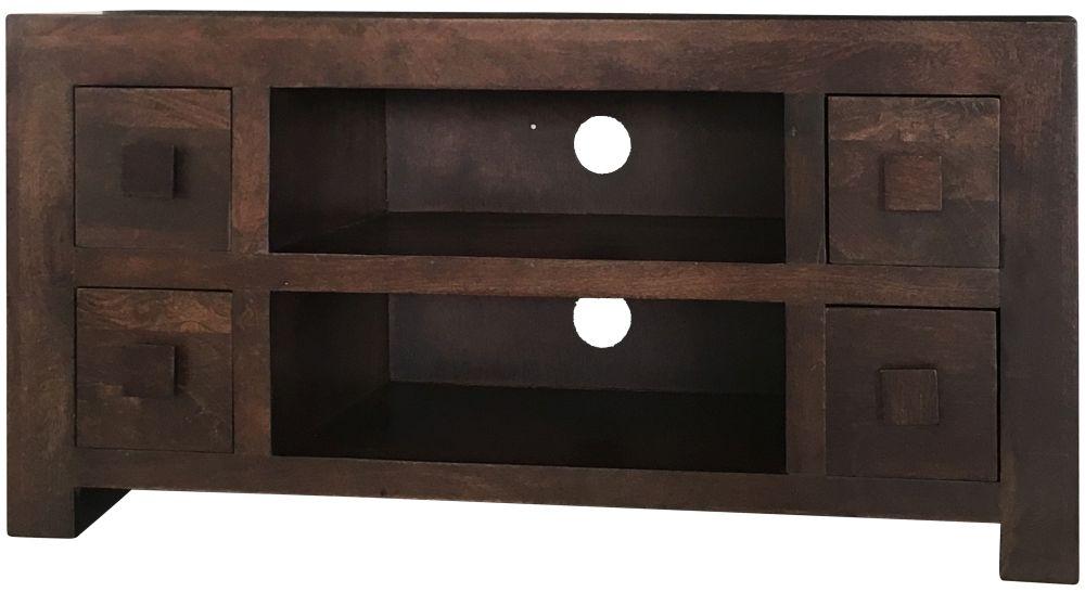 Buy Jaipur Dakota Walnut Mango Wood 4 Drawer Plazma Tv Unit Online