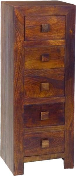Jaipur Dakota Walnut Mango Wood Chest of Drawer - 5 Drawer