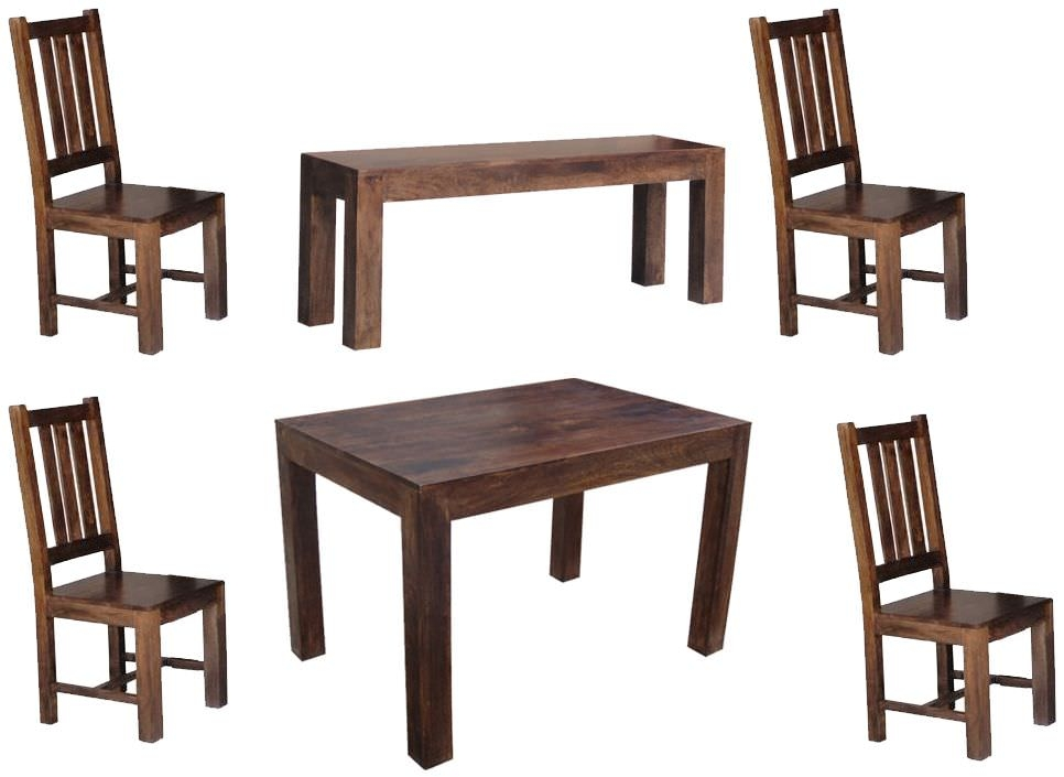 Jaipur Furniture Dakota Walnut Dining Set - Large with 4 Dakota Chairs and Large Bench