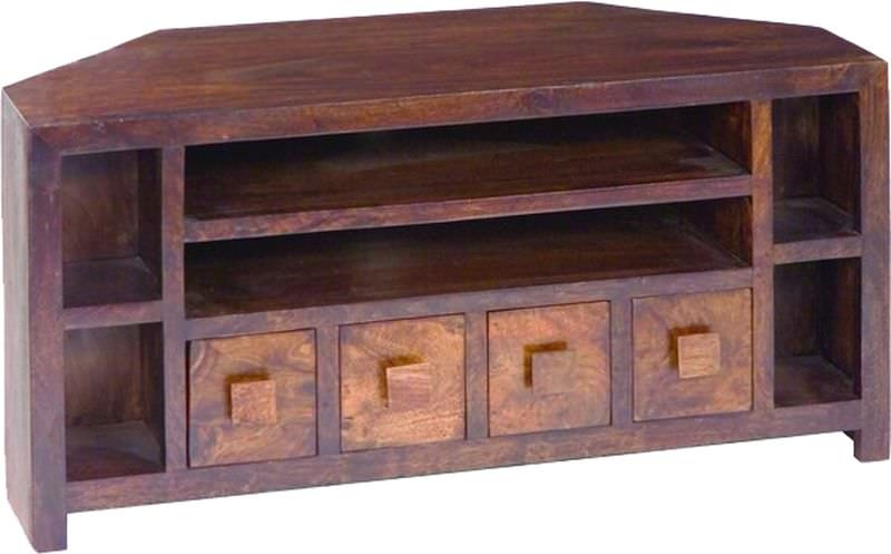 Jaipur Dakota Walnut Mango Wood Plus TV Unit - Corner 4 Drawer