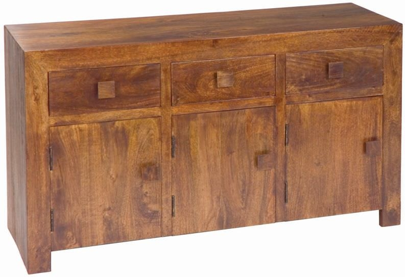 Jaipur Dakota Walnut Mango Wood 3 Door 3 Drawer Sideboard