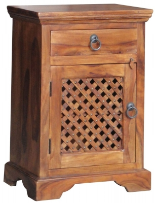 Jaipur Ganga Sheesham Left Hand Hinged Latic Jali Bedside Cabinet