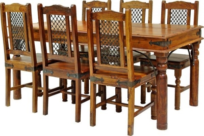 Jaipur Ganga Sheesham Large Dining Table with 6 Rawat Chairs