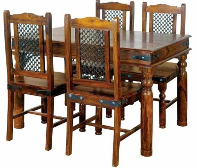Jaipur Ganga Sheesham Small Dining Table with 4 Rawat Chairs
