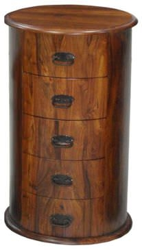 Jaipur Ganga Sheesham Drum Chest of Drawer - 5 Drawer