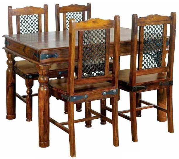 Jaipur Ganga Sheesham Dining Set - Small with 4 Rawat Chairs