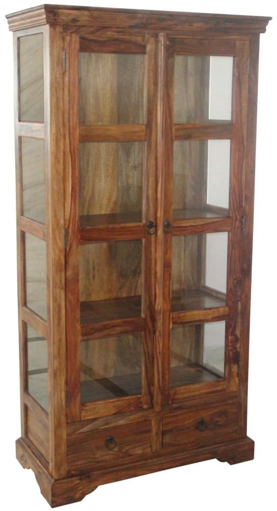 Jaipur Furniture Ganga Glass Display Cabinet - 2 Doors 2 Drawers
