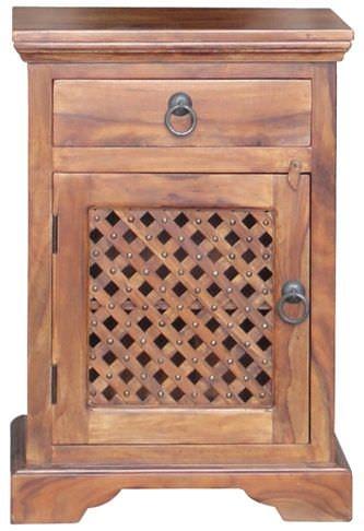 Jaipur Furniture Ganga Latic Jali Bedside Cabinet - 1 Door 1 Drawer Left Hand Hinged