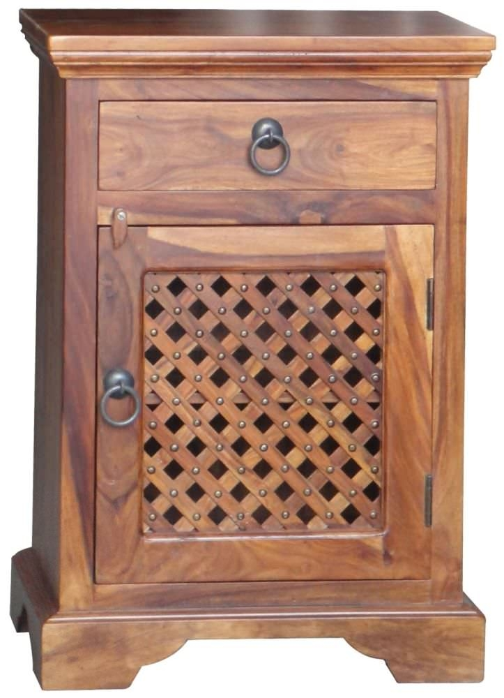 Jaipur Ganga Sheesham Latic Jali Bedside Cabinet - 1 Door 1 Drawer Right Hand Hinged