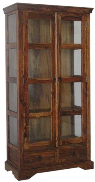Jaipur Ganga Sheesham 2 Door 2 Drawer Glass Display Cabinet