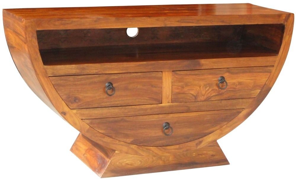 Jaipur Ganga Sheesham 3 Drawer Half Round Bowl Chest