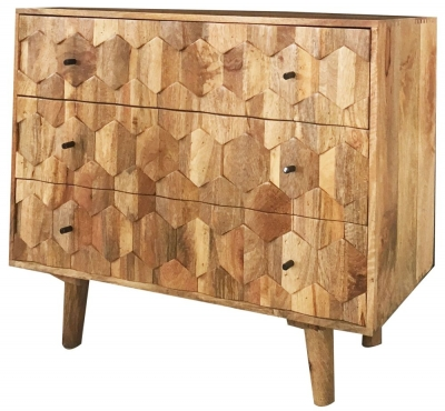 Jaipur Hexagonal Mango Wood 3 Drawer Chest