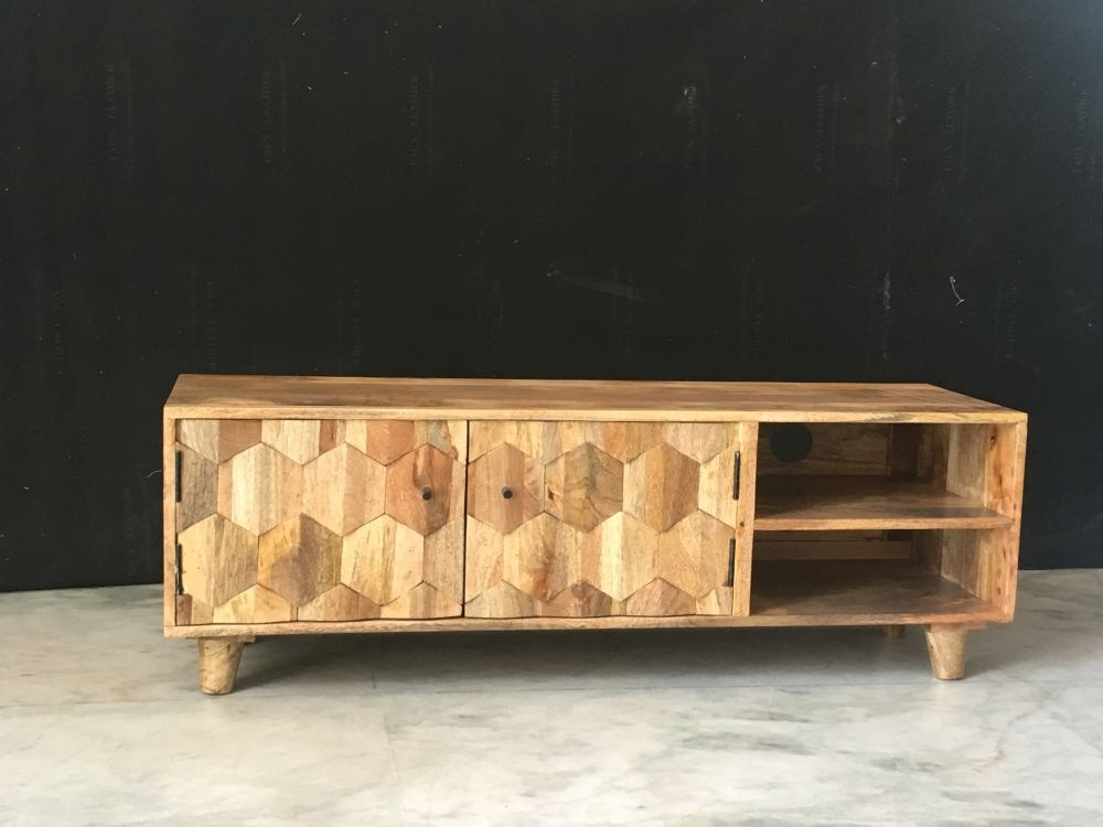 Jaipur Hexagonal Mango Wood Plazma TV Unit