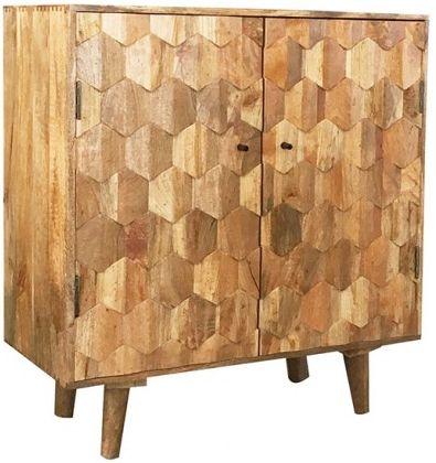 Jaipur Hexagonal Mango Wood 2 Door Narrow Sideboard