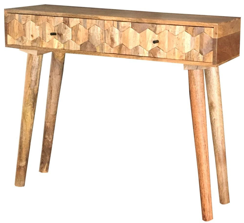 Jaipur Hexagonal Mango Wood 2 Drawer Console Table