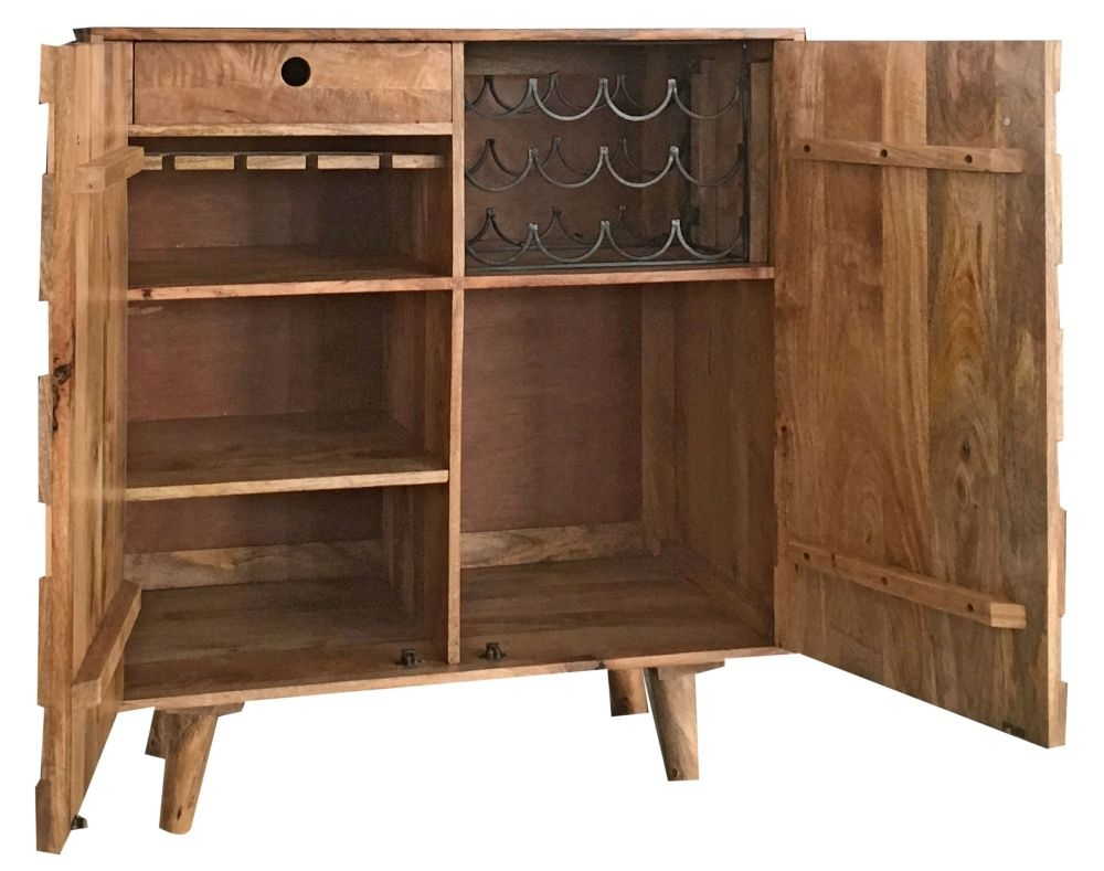 Jaipur Hexagonal Mango Wood Compact Bar Cabinet