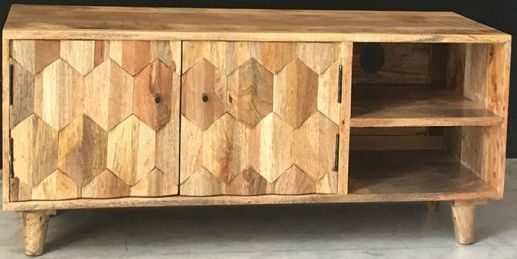 Jaipur Hexagonal Mango Wood 2 Door Plazma TV Unit