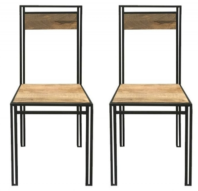 Jaipur Industrial Dining Chair - Mango Wood and Iron (Pair)