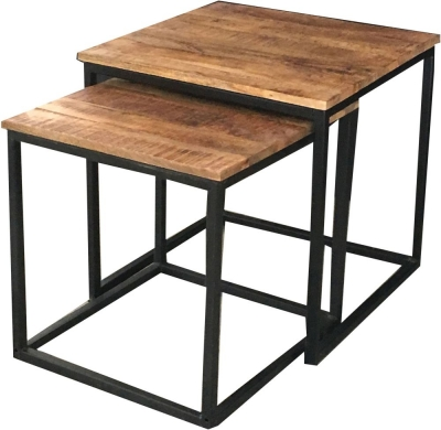 Jaipur Industrial Nest of 2 Tables - Mango Wood and Iron