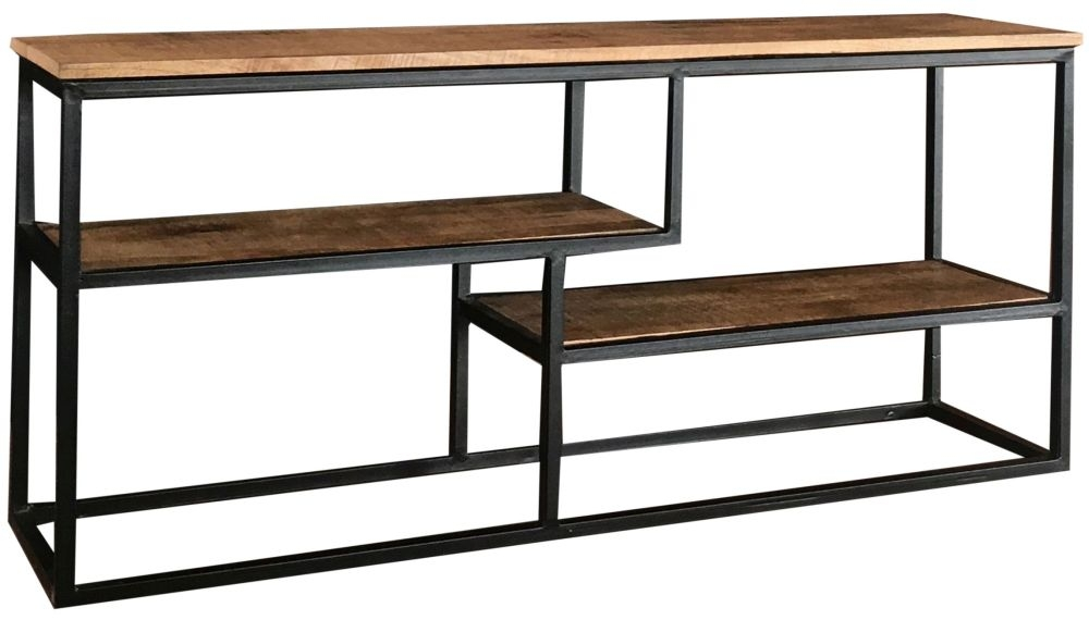 Jaipur Industrial Mango Wood and Iron Low Console Table