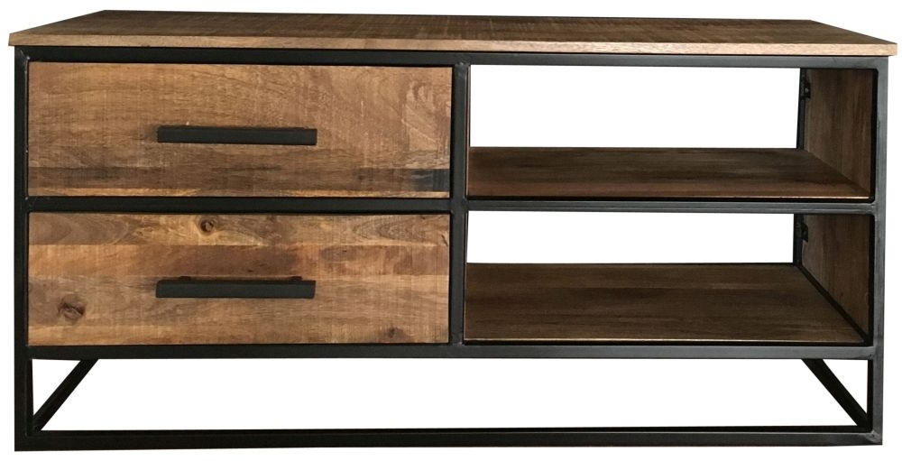 Jaipur Industrial Medium TV Unit - Mango Wood and Iron