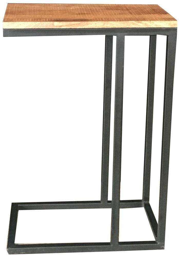 Jaipur Industrial Large Side Table - Mango Wood and Iron