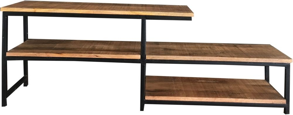 Jaipur Industrial Low Plazma TV Unit - Mango Wood and Iron
