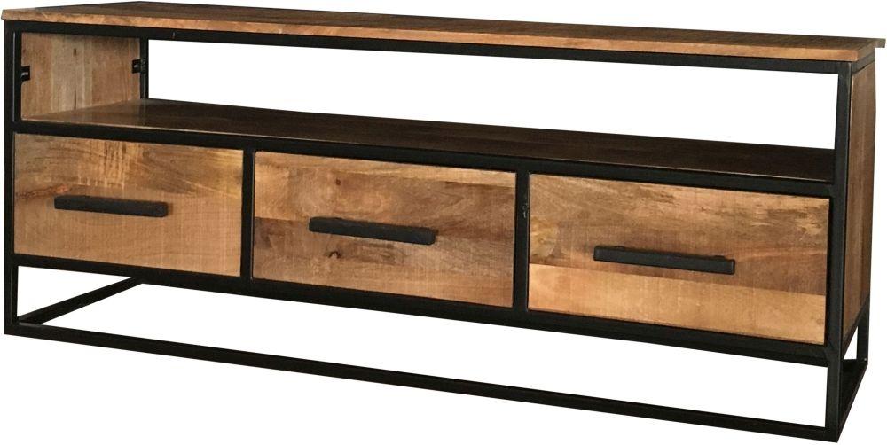 Jaipur Industrial Open Shelf TV Unit - Mango Wood and Iron