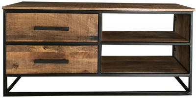 Jaipur Industrial Mango Wood and Iron Medium TV Unit