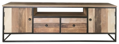 Jaipur Industrial Reclaimed Mango Wood 2 Door 2 Drawer TV Unit